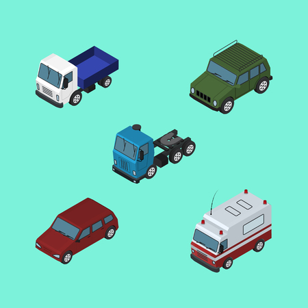 Isometric Transport Set Of Car, Lorry, Truck And Other Vector Objects. Also Includes Armored, Suv, Aid Elements.