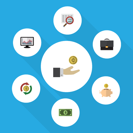 Flat Icon Incoming Set Of Hand With Coin, Interchange, Portfolio Vector Objects. Also Includes Search, Box, Portfolio Elements.