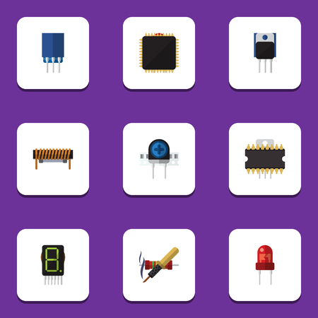 Flat Icon Device Set Of Microprocessor, Transducer, Receptacle And Other Vector Objects. Also Includes Copper, Recipient, Calculator Elements. Illustration