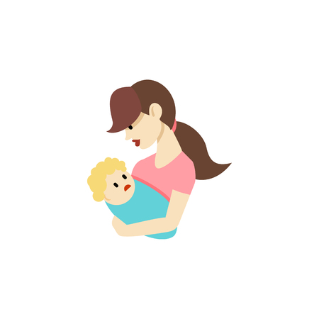 Isolated Nanny Flat Icon. Child Vector Element Can Be Used For Child, Nanny, Mother Design Concept.