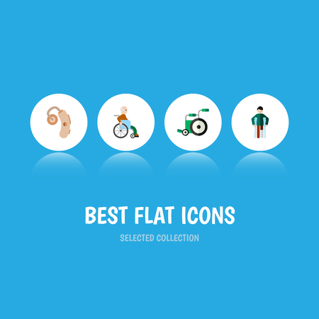Flat Icon Handicapped Set Of Handicapped Man, Audiology, Injured Vector Objects. Also Includes Injured, Audiology, Disability Elements. Illustration