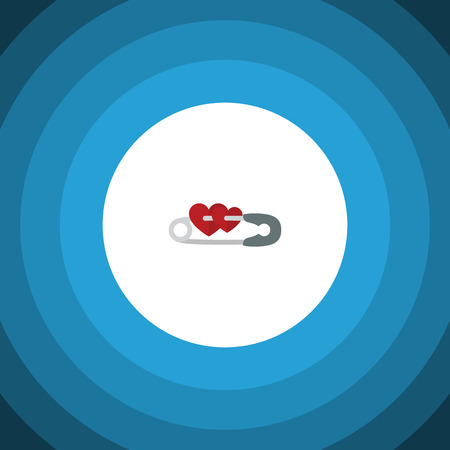 Isolated Safety Pin Flat Icon. Closed Vector Element Can Be Used For Safety, Pin, Closed Design Concept. Illustration