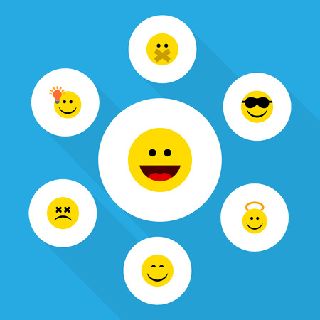 Flat Icon Emoji Set Of Happy, Cross-Eyed Face, Angel And Other Vector Objects. Also Includes Silent, Dizzy, Cheerful Elements. Stok Fotoğraf - 83229932