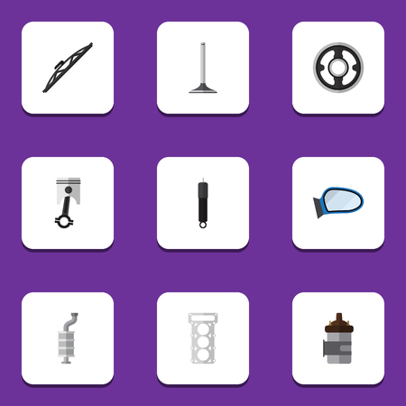silent: Flat Icon Component Set Of Conrod, Auto Component, Absorber And Other Vector Objects