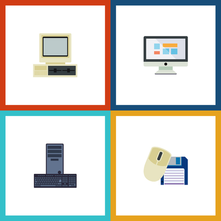 Flat Icon Laptop Set Of Computer Mouse, Display, Computer And Other Vector Objects Illustration