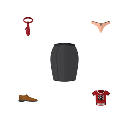Flat Icon Dress Set Of Cravat, Male Footware, Lingerie And Other Vector Objects Illustration