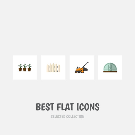 Flat Icon Farm Set Of Lawn Mower, Wooden Barrier, Hothouse And Other Vector Objects