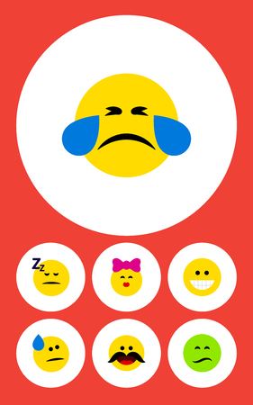 Flat Icon Expression Set Of Frown, Cold Sweat, Grin And Other Vector Objects