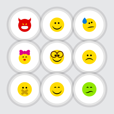 Flat Icon Emoji Set Of Frown, Hush, Caress And Other Vector Objects