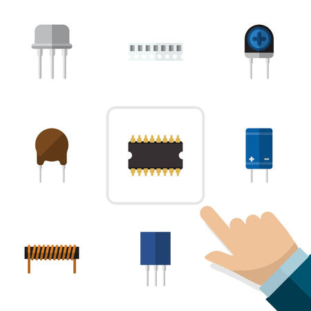 Flat Icon Device Set Of Receptacle, Transducer, Transistor And Other Vector Objects