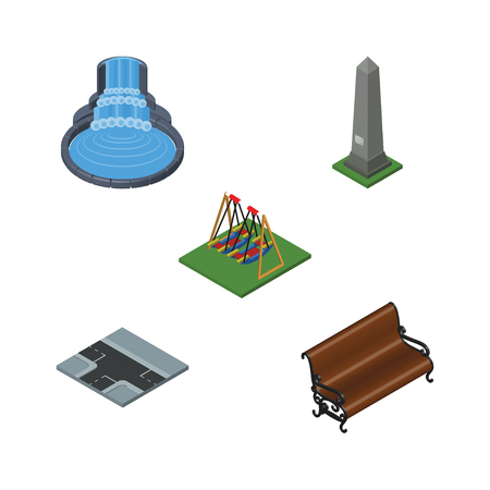 Isometric City Set Of Garden Decor, Crossroad, Dc Memorial And Other Vector Objects Illustration