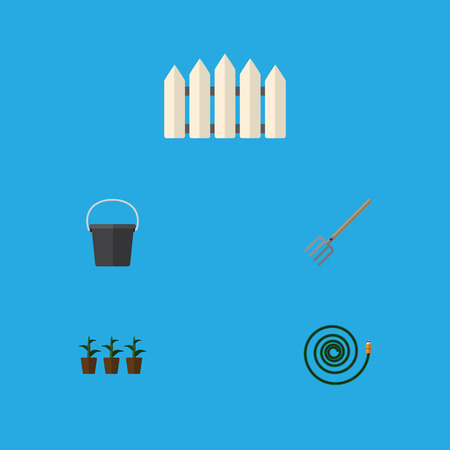Flat Icon Farm Set Of Pail, Flowerpot, Hay Fork And Other Vector Objects