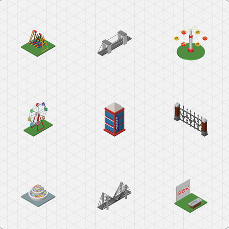family gardening: Isometric Architecture Set Of Swing Attraction, Aiming Game, Recreation And Other Vector Objects Illustration