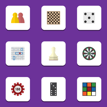 Flat Icon Entertainment Set Of Chess Table, Arrow, Poker And Other Vector Objects