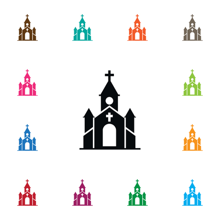 첨탑 벡터 요소 첨탑, 기독교, 교회 디자인 개념에 사용할 수 있습니다. 격리 된 교회 아이콘입니다.