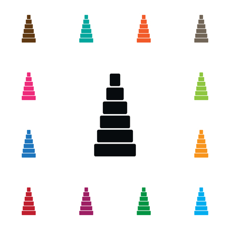Tower Vector Element Can Be Used For Pyramid, Toy, Tower Design Concept.  Isolated Game Icon. Ilustração