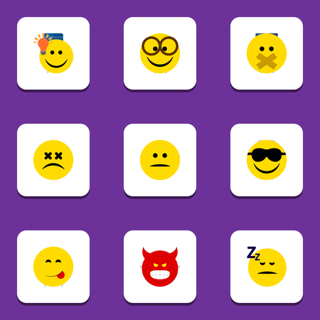 enraged: Flat Icon Emoji Set Of Happy, Have An Good Opinion, Cross-Eyed Face And Other Vector Objects Illustration