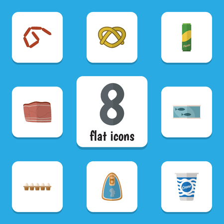 hermetic: Flat Icon Eating Set Of Bratwurst, Yogurt, Spaghetti And Other Vector Objects
