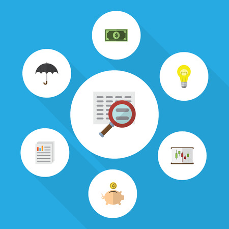 Flat Icon Incoming Set Of Document, Greenback, Diagram And Other Vector Objects Illustration