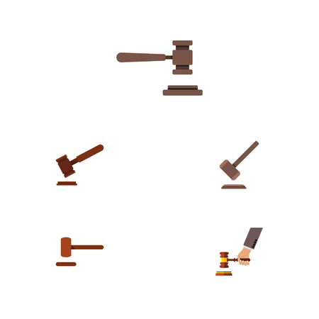 Flat Icon Court Set Of Tribunal, Justice, Defense And Other Vector Objects