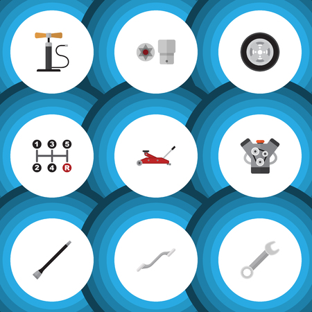rim: Flat Icon Workshop Set Of Motor, Carrying, Turnscrew And Other Vector Objects