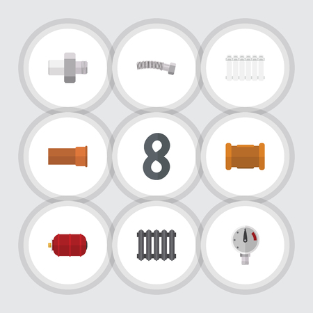 Flat Icon Pipeline Set Of Connector, Cast, Pipe And Other Vector Objects Illustration