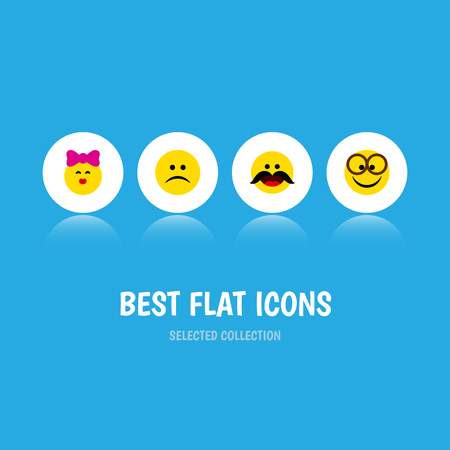 Flat Icon Emoji Set Of Cheerful, Sad, Caress And Other Vector Objects