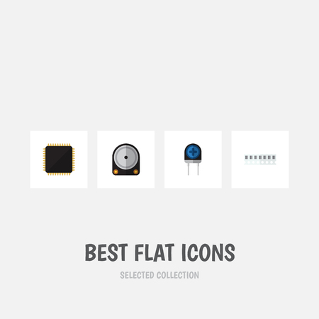 Flat Icon Device Set Of Memory, Transducer, Cpu And Other Vector Objects