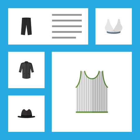 brasserie: Flat Icon Dress Set Of Uniform, Pants, Brasserie And Other Vector Objects Illustration
