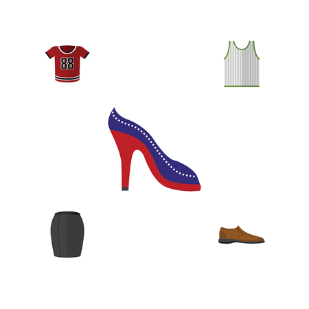 Flat Icon Dress Set Of T-Shirt, Singlet, Heeled Shoe And Other Vector Objects