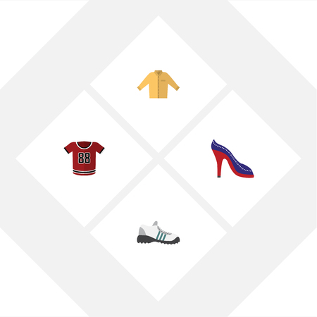 Flat Icon Clothes Set Of Banyan, Sneakers, Heeled Shoe And Other Vector Objects Ilustração