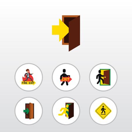 doorknob: Flat Icon Door Set Of Evacuation, Open Door, Entrance And Other Vector Objects
