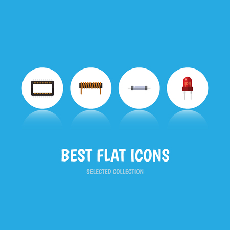 Flat Icon Device Set Of Resistor, Bobbin, Recipient And Other Vector Objects
