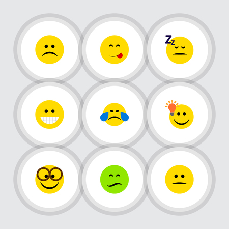 Flat Icon Face Set Of Asleep, Displeased, Pleasant And Other Vector Objects Ilustrace