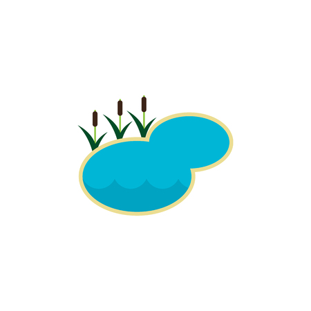 Pond Vector Element Can Be Used For Lagoon, Lake, Pond Design Concept.  Isolated Lake Flat Icon.