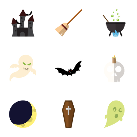Flat Icon Celebrate Set Of Ghost, Cranium, Magic And Other Vector Objects Illustration