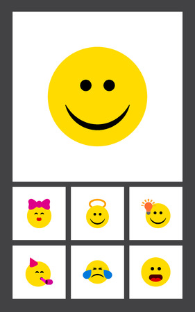 perplexity: Flat Icon Face Set Of Joy, Angel, Have An Good Opinion And Other Vector Objects