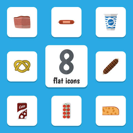 bretzel: Flat Icon Meal Set Of Kielbasa, Fizzy Drink, Yogurt And Other Vector Objects Illustration