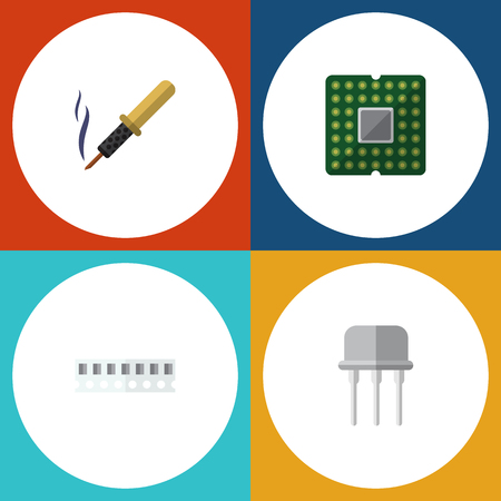 Flat Icon Technology Set Of Memory, Repair, Resist And Other Vector Objects Illustration