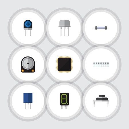 Flat Icon Electronics Set Of Destination, Display, Resistor And Other Vector Objects