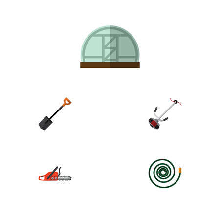 Flat Icon Farm Set Of Spade, Grass-Cutter, Hosepipe And Other Vector Objects