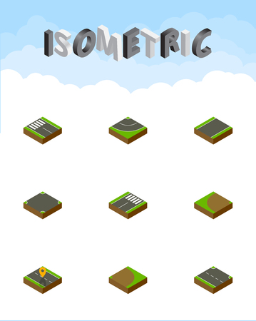 unilateral: Isometric Way Set Of Footer, Road, Navigation And Other Vector Objects