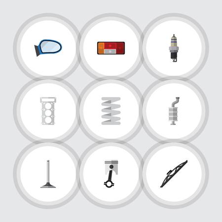 Flat Icon Component Set Auto Segment, Koplamp, Windscherm En Andere Vector Objecten Stock Illustratie