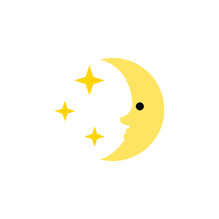moonshine: Nighttime Vector Element Can Be Used For Nighttime, Moon, Star Design Concept.  Isolated Midnight Flat Icon.
