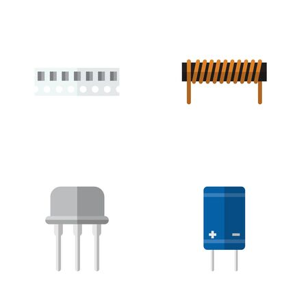 radio unit: Flat Icon Technology Set Of Memory, Bobbin, Resist And Other Vector Objects
