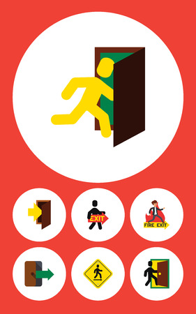 Flat Icon Door Set Of Evacuation, Directional, Emergency And Other Vector Objects