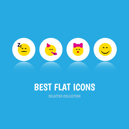 Flat Icon Emoji Set Of Caress, Asleep, Party Time Emoticon And Other Vector Objects