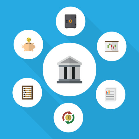 Flat Icon Incoming Set Of Money Box, Document, Bank And Other Vector Objects