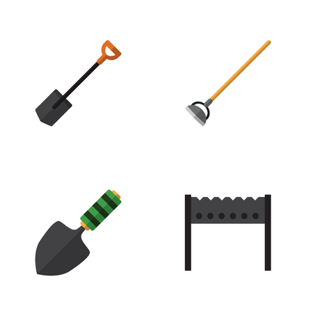Flat Icon Dacha Set Of Spade, Trowel, Barbecue And Other Vector Objects