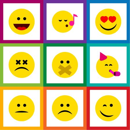 misunderstanding: Flat Icon Gesture Set Of Party Time Emoticon, Laugh, Displeased And Other Vector Objects Illustration